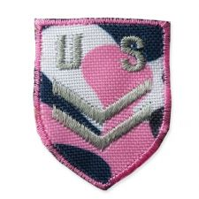 PINK US BADGE MOTIF IRON ON EMBROIDERED PATCH APPLIQUE